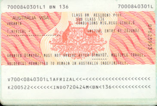 Visa to Australia 35x45 mm (0,35x0,45 cm)