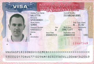 Visa to the United States 2x2 inches (51x51 mm)