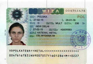 Visa to Poland 35x45 mm (0,35x0,45 cm)