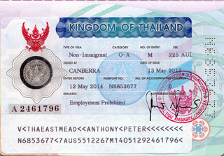 Visa to Thailand 35x45 mm (0,35x0,45 cm)