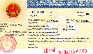 Visa to Vietnam 40x60 mm (0,4x0,6 cm)
