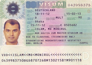Visa to Germany 35x45 mm (3,5x4,5 cm)