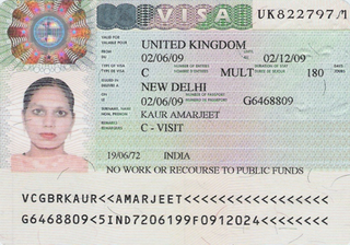 Visa to Great Britain 35x45 mm (3,5x4,5 cm)
