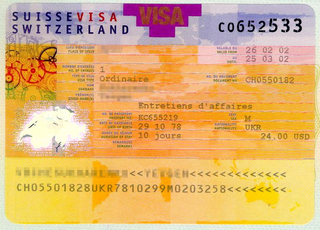 Switzerland visa 35x45 mm (3,5x4,5 cm)
